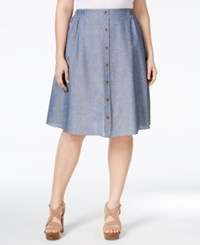 Ing Plus Size Button Front Chambray Skirt Indigo White