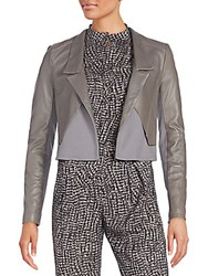 Halston Cropped Leather And Knit Jacket Charcoal