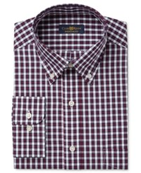 Club Room Men's Classic Regular Fit Big And Tall Wrinkle Resistant Navy Red Square Check Dress Shirt Only At Macy's