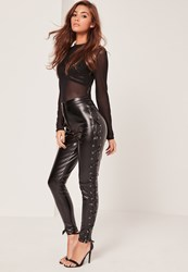 Missguided Faux Leather Lace Up Side Leggings Black