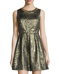 Romeo And Juliet Couture Embellished Neck Sleeveless Jacquard Dress Gold