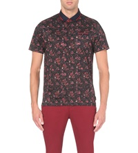 Ted Baker Tropical Leaf Print Cotton Jersey Polo Shirt Dark Red
