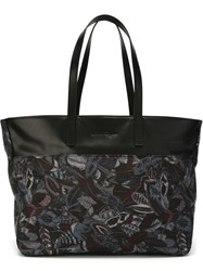 Salvatore Ferragamo Feather Print Tote Black