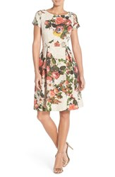 Women's Adrianna Papell Floral Matelasse Fit And Flare Dress Pink Multi