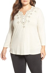 Lucky Brand Plus Size Women's Embellished Bib Top Natural