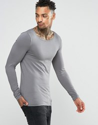 Asos Extreme Muscle Long Sleeve T Shirt With Boat Neck In Grey Grey