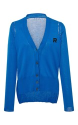 Rochas Cotton Cardigan With Logo Detail Blue