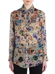 Giorgio Armani Printed Silk Button Up Blouse Floral Print