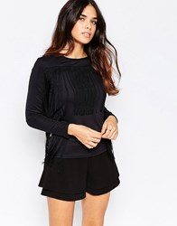 Oh My Love Long Sleeve Fringe Top Black
