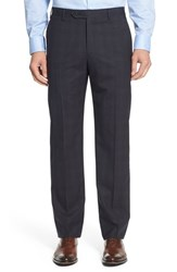 Zanella Men's 'Devon' Flat Front Plaid Wool Trousers Grey