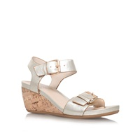 Carvela Comfort Splinter Low Wedge Heel Sandals Gold