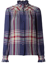 Philosophy Di Lorenzo Serafini Checked Ruffle Neck Shirt Blue