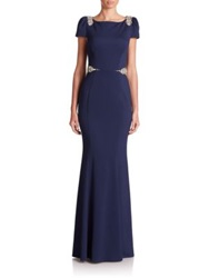 Mignon Beaded Crepe Gown Navy