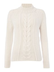 Max Mara Dingo Long Sleeve Cable Knit Jumper White