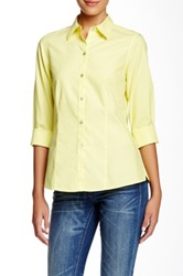 Foxcroft Christy Solid Long Sleeve Fitted Shirt Yellow