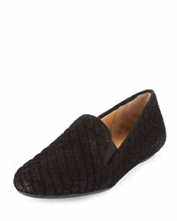 Neiman Marcus Woven Suede Stretch Loafer Black