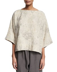 Eskandar 3 4 Sleeve Bateau Neck Tunic Grays Greys