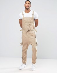 Asos Drop Crotch Dungarees With Strapping In Stone Stone