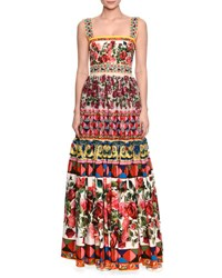 Dolce And Gabbana Embellished Long Peasant Gown Pink Print Multi Pink Print Maioli