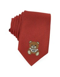 Moschino Teddy Bear Solid Silk Jacquard Narrow Tie Red