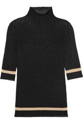 Toteme Trento Ribbed Knit Turtleneck Top Black