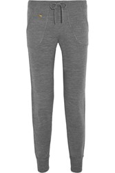 Bella Freud Embroidered Wool Track Pants Gray