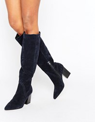 Asos Carina Suede Pointed Slouch Knee High Boots Navy Suede