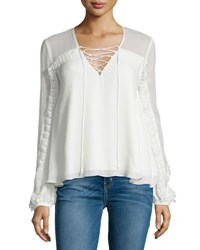 Haute Hippie Silk Lace Trim Boho Blouse Swan