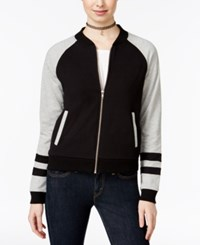 Almost Famous Juniors' Colorblocked Bomber Jacket Light Heather Grey