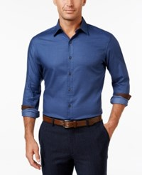 Tasso Elba Men's Contrast Cuff Long Sleeve Shirt Classic Fit Blue Combo