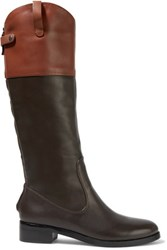 Halston Heritage Barbra Two Tone Leather Boots Chocolate