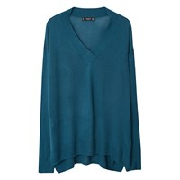 Mango V Neck Jumper Dark Blue