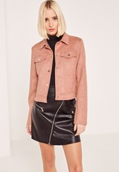 Missguided Pink Faux Suede Jacket
