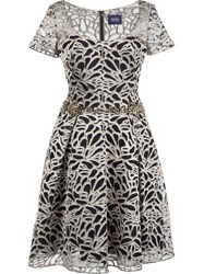 Marchesa Notte Belted Embroidered Dress Metallic