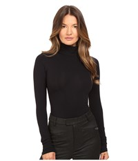 Theory Tace Tubular Long Sleeve Bodysuit Black Women's Jumpsuit And Rompers One Piece
