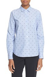 Kate Spade Women's New York Dot Jacquard Cotton Shirt Ensemble Blue