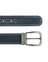 Moreschi Men's Navy Blue Perforated Leather Belt