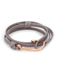 Miansai Rose Goldtone Hook Leather Bracelet Black