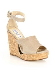 Jimmy Choo Cutout Suede Ankle Strap Cork Wedge Sandals Natural Black