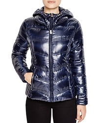 Laundry By Shelli Segal Hooded Quilted Puffer Jacket Navy