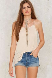 Without A Sound Ribbed Tank Beige