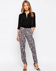 Closet London Floral Peg Leg Trousers Grey Multi