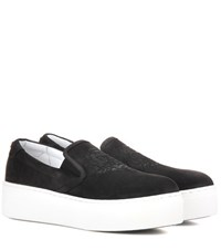 Kenzo Embossed Platform Suede Slip On Sneakers Black