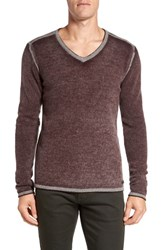 John Varvatos Men's Star Usa Merino Wool Blend V Neck Sweater Garnet