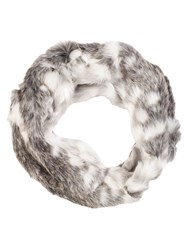 Chesca Snow Wolf Faux Fur Scarf White