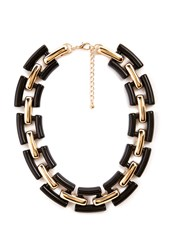 Forever 21 Chain Link Collar Necklace Black Gold