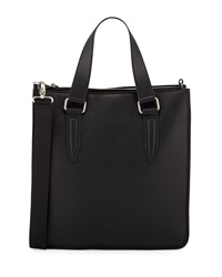 Neiman Marcus Faux Leather Sectional Tote Bag Black