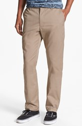 Rvca 'The Weekend' Slim Straight Leg Chinos Dark Khaki