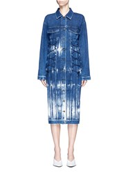 Stella Mccartney Crisscross Bungee Tie Dye Denim Dress Blue