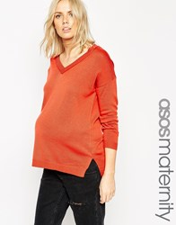 Asos Maternity Jumper With V Neck Rust